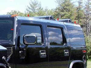 Chrome Trim - Roof Accents - QAA - Hummer H2 2003-2009, 4-door, SUV (8 piece Stainless Steel Top Rail Accent Trim ) HV43017 QAA