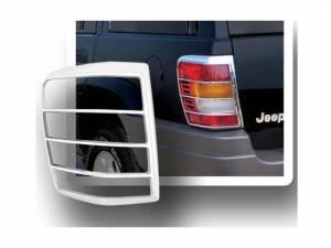 Chrome Trim - Tail Light Accents - QAA - Jeep Grand Cherokee 1999-2004, 4-door, SUV (2 piece Chrome Plated ABS plastic Tail Light Bezels ) TL39080 QAA