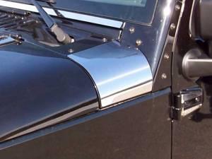 Chrome Trim - Hood Accents/Trim - QAA - Jeep Wrangler JK 2007-2018, 4-door, SUV (2 piece Stainless Steel Upper Hood Accent Trim ) HD47085 QAA