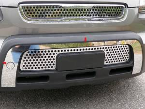 Chrome Trim - Bumper Accents - QAA - Kia Soul 2010-2011, 4-door, Hatchback (2 piece Stainless Steel Front Bumper Trim ) FB10830 QAA