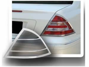 Chrome Trim - Tail Light Accents - QAA - Mercedes C Class 2001-2007, 4-door, Sedan (2 piece Chrome Plated ABS plastic Tail Light Bezels ) TL23081 QAA
