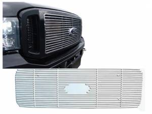 Chrome Trim - Grille Accents - QAA - Ford F-250 & F-350 Super Duty 1999-2005, 2-door, 4-door, Pickup Truck (1 piece Billet Grille Overlay ) SGB39320 QAA