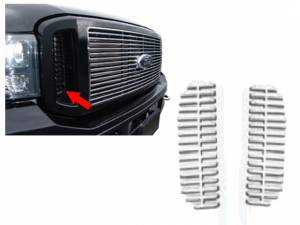 Chrome Trim - Grille Accents - QAA - Ford F-250 & F-350 Super Duty 1999-2005, 2-door, 4-door, Pickup Truck (2 piece Billet Grille Overlay Side Vent Covers ) SGB39321 QAA