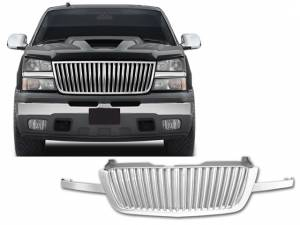 Chrome Trim - Grille Accents - QAA - Chevrolet Silverado 2003-2006, 2-door, 4-door, Pickup Truck (1 piece Chrome Plated ABS plastic Billet Grille Overlay Vertical Replacement ) SGB43182 QAA