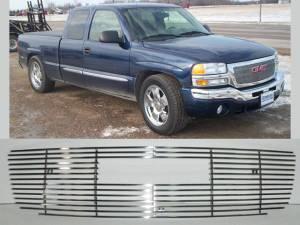 Chrome Trim - Grille Accents - QAA - GMC Sierra 2003-2006, 2-door, 4-door, Pickup Truck, 1500, 2500 (1 piece Billet Grille Overlay ) SGB43281 QAA