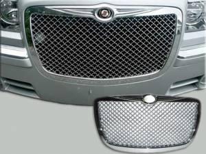 Chrome Trim - Grille Accents - QAA - Chrysler 300 2005-2010, 4-door, Sedan (1 piece Chrome Plated ABS plastic Billet Grille Overlay Mesh design ) SGB45765 QAA