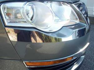 Chrome Trim - Headlight Accents - QAA - Volkswagen Passat 2006-2010, 4-door, Sedan (2 piece Stainless Steel Head Light Accent Trim ) HL26675 QAA