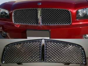 Chrome Trim - Grille Accents - QAA - Dodge Charger 2006-2010, 4-door, Sedan (1 piece Billet Grille Overlay Bentley Style Mesh design Replacement ) SGB46910 QAA