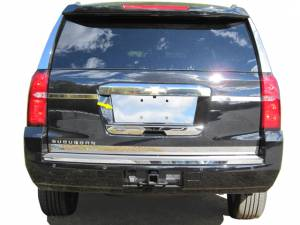 Chrome Trim - License Plate Accents - QAA - Chevrolet Suburban 2015-2020, 4-door, SUV (1 piece Stainless Steel License Plate Bezel ) LP55195 QAA