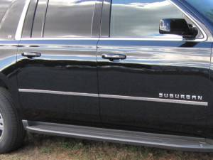 "Chrome Trim - More Trim Options - QAA - Chevrolet Suburban 2015-2020, 4-door, SUV (4 piece Stainless Steel Body Molding Insert Trim Kit 1"" Width ) MI55198 QAA"