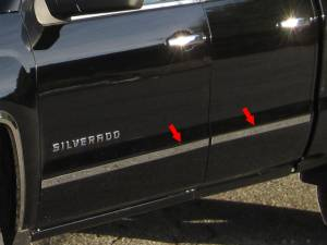 "Chrome Trim - More Trim Options - QAA - Chevrolet Silverado 2014-2018, 4-door, Pickup Truck, Double Cab, Short Bed, NO Molding (4 piece Stainless Steel Body Molding Trim Kit 1.5"" Width ) MI54185 QAA"