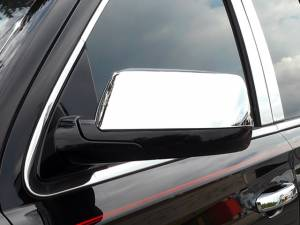 Chrome Trim - Mirror Covers/Accents - QAA - Chevrolet Tahoe 2015-2020, 4-door, SUV (2 piece Chrome Plated ABS plastic Mirror Cover Set Top Half Only ) MC55196 QAA