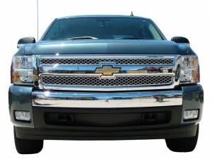Chrome Trim - Grille Accents - QAA - Chevrolet Silverado 2007-2009, 2-door, 4-door, Pickup Truck (2 piece Billet Grille Overlay Upper only ) SGB47181 QAA