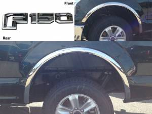 Ford F-150 2015-2017, 2-door, 4-door, Pickup Truck (4 piece Molded Stainless Steel Wheel Well Fender Trim Molding No Factory Flares Clip on or screw in installation, Lock Tab and screws, hardware included.) WZ55308 QAA