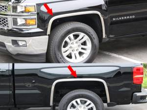 Chevrolet Silverado 2016-2018, 2-door, 4-door, Pickup Truck, 1500 LD ONLY (4 piece Molded Stainless Steel Wheel Well Fender Trim Molding Clip on or screw in installation, Lock Tab and screws, hardware included.) WZ56181 QAA