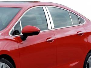 QAA - Chevrolet Cruze 2016-2019, 4-door, Sedan (12 piece Stainless Steel Pillar Post Trim Includes two front and two Rear Pillar pieces ) PP56147 QAA