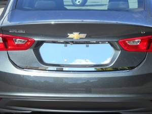 Chrome Trim - License Plate Accents - QAA - Chevrolet Malibu 2016-2020, 4-door, Sedan (1 piece Stainless Steel License Plate Bezel ) LP56105 QAA