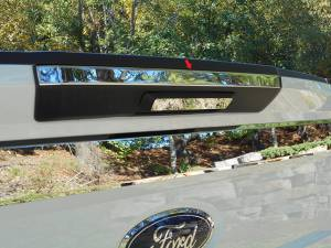 "Chrome Trim - Tailgate Handle Cover - QAA - Ford F-250 & F-350 Super Duty 2017-2020, 2-door, 4-door, Pickup Truck, Regular Cab, 8' Bed (1 piece Stainless Steel Tailgate Handle Accent Trim 1.188""Width Upper Accent Strip, No rear camera cut out.) LB57320 QAA"
