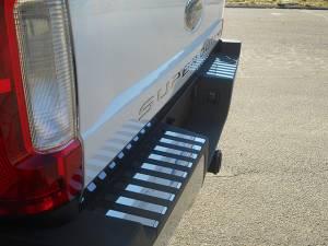 Chrome Trim - Bumper Accents - QAA - Ford F-250 & F-350 Super Duty 2017-2020, 2-door, 4-door, Pickup Truck, Regular Cab, 8' Bed (18 piece Stainless Steel Rear Bumper Trim Accent Insert set ) BI57320 QAA