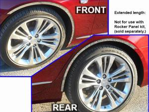 "Chrome Trim - Wheel Well/Fender Trim - QAA - Cadillac CT6 2016-2020, 4-door, Sedan (6 piece Stainless Steel Wheel Well Accent Trim 0.875"" Width, cut full length, rear trim pieces are segmented into two With 3M adhesive installation and black rubber gasket edging.) WQ56231 QAA"