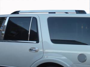 "Chrome Trim - Roof Accents - QAA - Ford Expedition 2008-2017, 4-door, SUV, NO EL (2 piece Stainless Steel Roof Rack Trim 2.187"" Width, Includes Center Pieces Only ) RR55384 QAA"