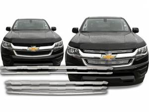 QAA - Chevrolet Colorado 2015-2020, 4-door, Pickup Truck, Long Bed, LT, LW ONLY (2 piece Chrome Plated ABS plastic Grill Overlay Insert ) SGC55150 QAA