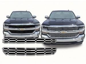 Chrome Trim - Grille Accents - QAA - Chevrolet Silverado 2016-2018, 2-door, 4-door, Pickup Truck, LS, LT ONLY (2 piece Chrome Plated ABS plastic Grill Overlay Insert ) SGC56184 QAA