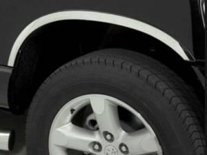 Dodge Ram 2002-2008, 2-door, 4-door, Pickup Truck, 1500, 2500 (4 piece Molded Stainless Steel Wheel Well Fender Trim Molding Clip on or screw in installation, Lock Tab and screws, hardware included. SHORT STYLE) WZ42936 QAA
