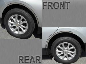 "Chrome Trim - Wheel Well/Fender Trim - QAA - Chevrolet Equinox 2018-2020, 4-door, SUV (4 piece Stainless Steel Wheel Well Accent Trim 0.875"" Width With 3M adhesive installation and black rubber gasket edging. *model equipped WITH Rocker Panels) WQ58161 QAA"