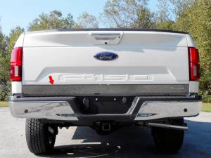 """Exterior Accessories - Tailgate Products - QAA - Ford F-150 2018-2020, 2-door, 4-door, Pickup Truck (1 piece Stainless Steel Tailgate Accent Trim 4"""" Width, with logo NEW Eco cut out ) RT58308 QAA"""