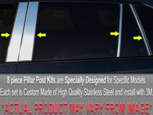 QAA - Buick Roadmaster 1992-1997, 4-door, Sedan (8 piece Stainless Steel Pillar Post Trim Includes rear, rear and front triangle ) PP32596 QAA