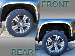 "Chrome Trim - Wheel Well/Fender Trim - QAA - Chevrolet Colorado 2015-2020, 4-door, Pickup Truck (4 piece Stainless Steel Wheel Well Accent Trim 1.5"" Width With 3M adhesive installation and black rubber gasket edging.) WQ55150 QAA"