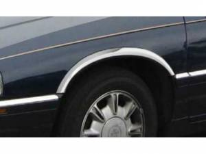 "Chrome Trim - Wheel Well/Fender Trim - QAA - Cadillac Eldorado 1992-2004, 2-door, Coupe (4 piece Molded Stainless Steel Wheel Well Fender Trim Molding 2.75"" Width Clip on or screw in installation, Lock Tab and screws, hardware included.) WZ32230 QAA"