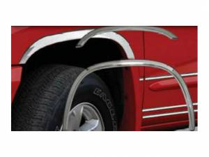 Dodge Dakota 2005-2011, 2-door, 4-door (4 piece Molded Stainless Steel Wheel Well Fender Trim Molding Clip on or screw in installation, Lock Tab and screws, hardware included.) WZ45990 QAA