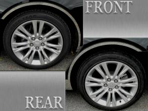 Chrome Trim - Wheel Well/Fender Trim - QAA - Cadillac XTS 2018-2019, 4-door, Sedan (4 piece Stainless Steel Wheel Well Accent Trim With 3M adhesive installation and black rubber gasket edging.) WQ58245 QAA