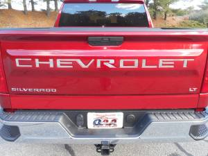 Chrome Trim - More Trim Options - QAA - Chevrolet Silverado 2019-2020, 2-door, 4-door, Pickup Truck, 1500 (7 piece Stainless Steel CHEVROLET Tailgate Letter Insert Rear Tailgate ) SGR59170 QAA