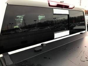 Chrome Trim - More Trim Options - QAA - Chevrolet Silverado 2019-2020, 2-door, 4-door, Pickup Truck, w/ sliding rear window, 1500 (2 piece Stainless Steel Sliding Rear Window Trim Accents ) RW59170 QAA