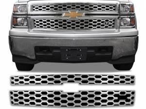 Chrome Trim - Grille Accents - QAA - Chevrolet Silverado 2014-2015, 2-door, 4-door, Pickup Truck, 1500, LTZ ONLY (2 piece Chrome Plated ABS plastic Grill Overlay Insert ) SGC54182 QAA