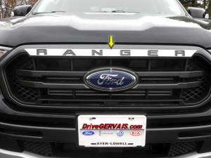 """Chrome Trim - Grille Accents - QAA - Ford Ranger 2019-2020, 4-door, Pickup Truck (4 piece Stainless Steel Front Grille Accent Trim NOTE: """"A"""" and """"R"""" pieces are very small.) SG59345 QAA"""