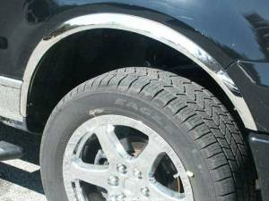 """Ford F-150 2004-2014, 2-door, 4-door, Pickup Truck (4 piece Molded Stainless Steel Wheel Well Fender Trim Molding 2""""-2.25"""" tapered Width Clip on or screw in installation, Lock Tab and screws, hardware included. Does not fit models with OEM Plastic Flares."""