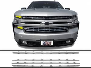 Chrome Trim - Grille Accents - QAA - Chevrolet Silverado 2019-2020, 2-door, 4-door, Pickup Truck, 1500 (2 piece Chrome Plated ABS plastic Grill Overlay Insert ) SGC59170 QAA