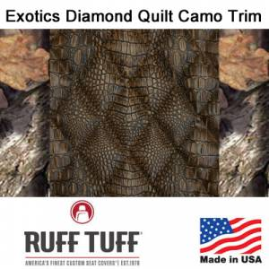 Seat Covers - Exotics Simulated Animal Seat Covers - RuffTuff - Exotics Diamond Quilt Insert With Camo Pattern Trim Seat Covers