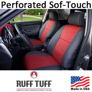 Seat Covers - Leatherette / Suede Seat Covers - RuffTuff - Perforated Sof-Touch Insert With Sof-Touch Trim Seat Covers