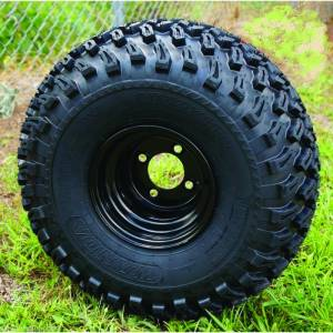 """8"""" X 7"""" OFFSET BLACK STEEL Wheel and Tire Set"""