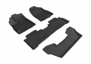 Floor Mats / Liners - Floor Liners - 3D MAXpider - 3D MAXpider ACURA MDX WITH BUCKET 2ND ROW 2017-2020 KAGU BLACK R1 R2 R3
