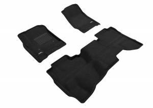 Floor Mats / Liners - Floor Mats - All Weather - 3D MAXpider - 3D MAXpider CHEVROLET SILVERADO 1500 DOUBLE CAB 2014-2018/ 2500HD/ 3500HD DOUBLE CAB 2015-2019/ 1500 LD DOUBLE CAB 2019 ELEGANT BLACK R1 R2