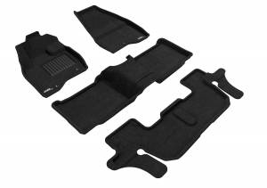 Floor Mats / Liners - Floor Mats - All Weather - 3D MAXpider - 3D MAXpider FORD EXPLORER WITH BENCH 2ND ROW 2017-2019 ELEGANT BLACK R1 R2 R3 (SINGLE POST ON FRONT PASSENGER'S FLOOR)